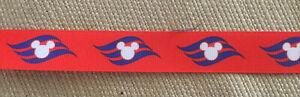 "Disney Cruise Line Fish Extender 7/8"" Red Grosgrain Ribbon Hair Bows 1 Yd."
