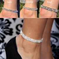 Bracelet de cheville argent clair cristal diamant 2 3 4 cheville chaîne Diamante