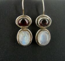 Rainbow Moonstones with Garnet Stones Sterling Silver 925 Pierced Drop EARRINGS