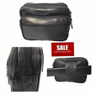 Real Leather Coin Purse Belt Pouch Camera Phone Money Holder Travel Black