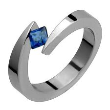 Titanium Ring Tension Set Genuine Sapphire Engagement Bands Fre Size 4 to 14