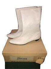 Jantzen White Go Go Boots Vintage Nos Nib 60s Sz 6.5 Aa Back Zip Up Leather Mod