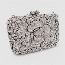 Butler & Wilson Clear Swarovski Crystal Flower Clutch Option Chain NEW