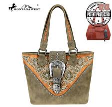 Concealed Carry CCW Gun Montana West Handgun Handbag Buckle Tote Purse Green