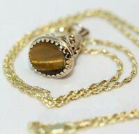 "Antique Victorian Tiger's Eye Seal Signet 9K Gold Pendant 10K Rope Necklace 18"""