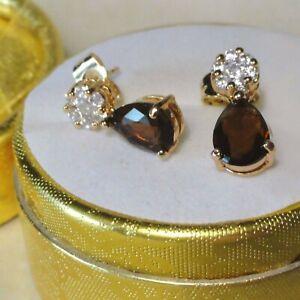 Yellow Gold Filled sim diamonds and smokey quartz drop dangle earrings, Boxed