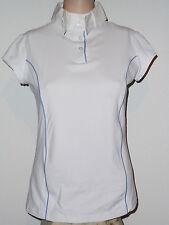 JK Horseline Damenshirt Reitshirt Turniershirt  weiß mit hellblauen Rand Gr. L