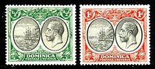 Dominica 1923-33 KGV ½d Black and Green & 1d Black and Scarlet SG71 & 73 LMM