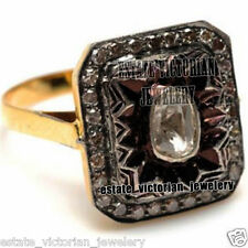 Cut Diamond Silver Ring Jewelry Artdeco Estate 1.54cts Rose Solitaire Antique