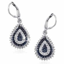 Blue and White Diamond 0.50ctw Leverback Dangle Earrings 14k Gold over 925 SS
