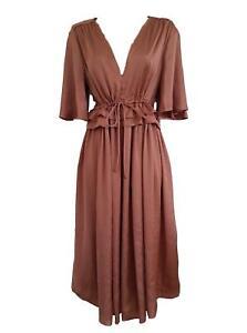 Marks & Spencer Antique Rose Silky Split Sleeve Boho Dress with Deep V Neckline