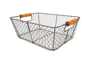 Wire Storage Basket Metal Mesh Crate Vintage Industrial Style Hamper Trug Holder