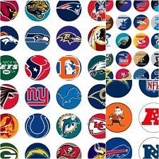100 Precut assorted NFL All FOOTBALL Teams BOTTLE CAP IMAGES 1 inch discs