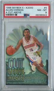 Allen Iverson 1996 97 Skybox E-X 2000 A Cut Above #4 76ers RC Rookie PSA 8