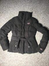 HOLLISTER WOMENS BROWN DOWN PUFFER COAT JACKET ZIPPER SNAP-BUTTON FRONT XS
