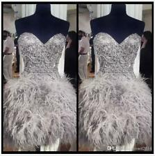 Short Sliver Prom Dresses Sleeveless Feathers Bead Crystal Cocktail Girls Gown