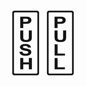 Pull Push Vertical Vinyl Stickers For Door Shop Window Salon Bar Cafe Restaurant