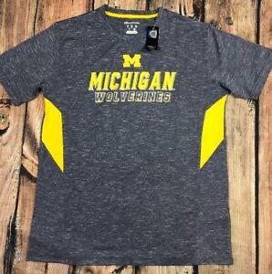 Michigan Wolverines Champion Short Sleeve Tee Gray Yellow Mens M