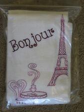New listing Lot of 4 embroidered white cotton dish towels -Paris, Bonjour, JeTaime, AuRevoir