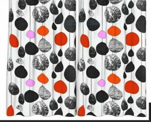 "IKEA Bollkaktus Curtain Panels Pair NEW Drapes Orange Pink B/W Red""Balloons"""