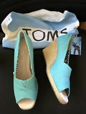 Toms Wedges SZ 6M Aqua Blue Canvas Woven Wedges w/ Bag EUC! Peep Toe