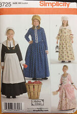 Simplicity Sewing Pattern Costume 3725 Amish Colonial Southern Girls 3 4 5 6