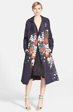 $3690 NWT Oscar de la Renta Gazar Trenchcoat Trench Navy Blue Purple 6 Small