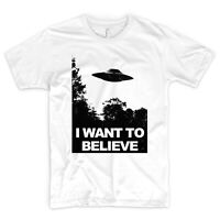 I Want To Believe T Shirt X Files Poster UFO Aliens Space Moon NASA MUFON
