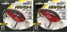 (2) Storm Arashi Rattling Square 5 Circuit Brd Lip Crankbaits Red Craw ASQR05870
