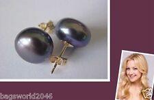 Hot 10-11 mm Tahitian AAA Black Pearl Stud Earrings 14k SOLID GOLD