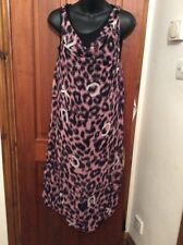 BNWT Pink & Black Leopard Print Long Tunic Dress M YOUR EYES LIE