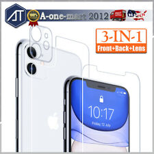 For iPhone 11 Pro Max Tempered Glass Screen Protector Camera Lens +Front +Back
