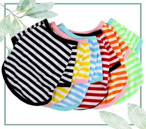 Dog Puppy Pet Clothes Striped Round Neck Warm Winter T-shirt Jumper Vest UK