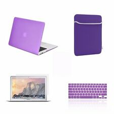 "4 IN 1 Macbook Air 13"" Purple Rubberized Hard Case + Keyboard Cover + LCD + Bag"