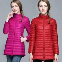 Women's Super Light 90% White Duck Down Coat Ultra-light Warm Jacket Plus Size