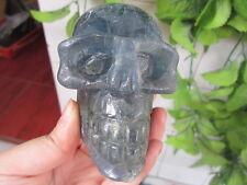 799g Huge Super Realistic blue fluorite Carved Crystal Skull Healing