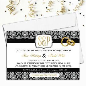 10 Personalised Wedding Invitations / Evening Invites & Envelopes N64
