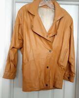 Vintage Retro Leather Jacket Coat Mustard India Women's Size S Oversized