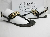 Steve Madden Size 6.5 M Betray Black Leather Sandals New Womens Shoes Betrayyy