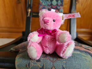 MINIATURE STEIFF CRYSTAL PINK LIMITED EDITION MOHAIR TEDDY BEAR .