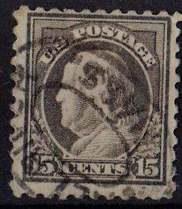 US 1916 Scott # 475 Benjamin Franklin 15 Cents gray, perf 10 STAMP