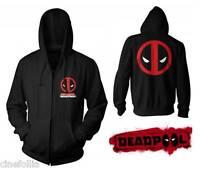 Felpa Deadpool face Logo con Zip e cappuccio Hoodie Marvel Uomo ufficiale