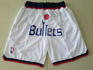 Washington Wizards White Retro Man Basketball Shorts Size: S-XXL