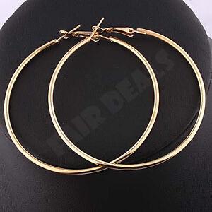 Big Large Golden Ear Hoop18K Gold 60mm 6cm Gold Plated Nickle Free Earrings