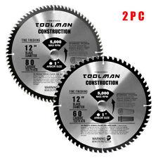 "Circular Saw Blade 12"" x1"" 60T 80T 2 pcs for DeWalt & Makita Carbide Tip Table"