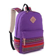Women Girls Backpack Travel Hiking Handbag Rucksack Shoulder Cotton Canvas Midi