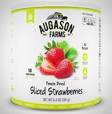 Augason Farms Freeze Dried Sliced Strawberries Emergency Food 6.4 Oz 10 Can New