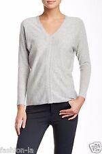 VINCE Ladder Stitch Cashmere V-Neck Sweater Medium , H Snow, NWT