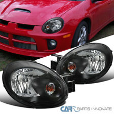 Fit 03-05 Dodge Neon Replacement Black Headlights Driving Headlamps Left+Right