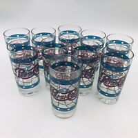 Ten (10) Pepsi Cola Tiffany Style Stained High Ball Tumbler Glasses Red Blue